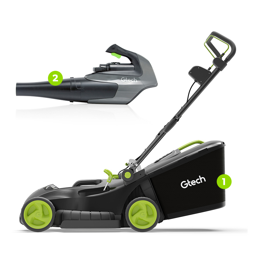 Cordless Lawnmower and Leaf BLower Bundle Image