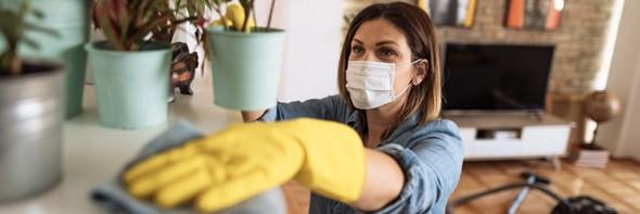 Woman dusting under plant pots