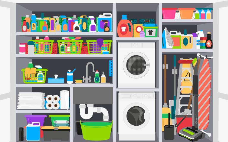 Bleach in the utility cupboard