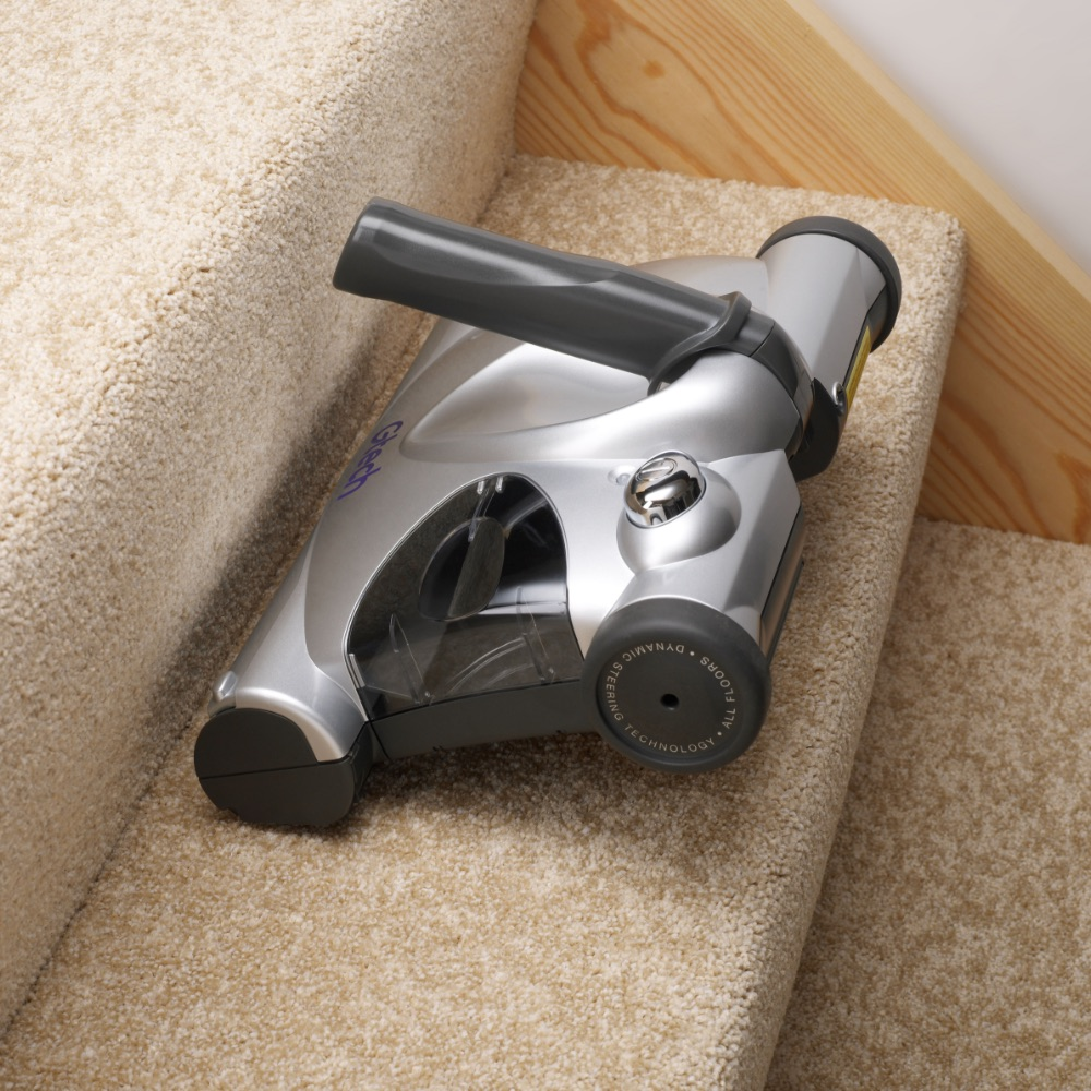 SW02 advanced carpet sweeper used on stairs